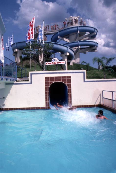 Florida Memory - View showing a corkscrew water slide at