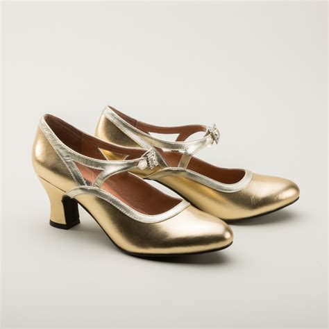 Roxy 1920s Flapper Shoes in Gold by Royal Vintage